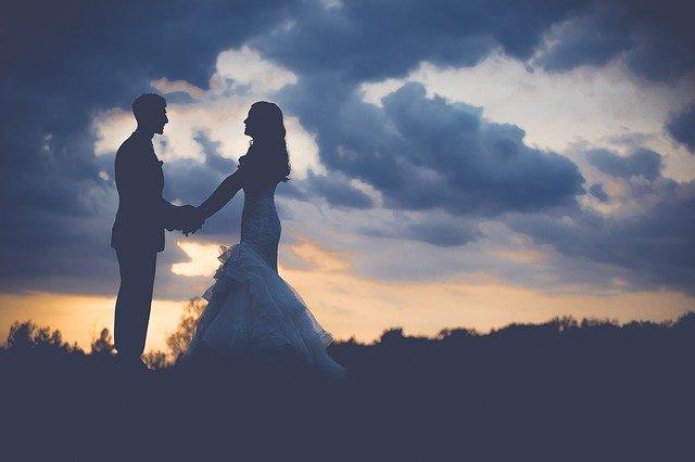 Pareja, boda, amanecer